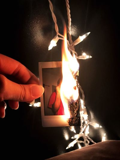 Human Hand Flame Human Body Part Fire - Natural Phenomenon Burning Real People Human Finger Holding One Person Heat - Temperature Unrecognizable Person Lifestyles Close-up Night Leisure Activity Indoors