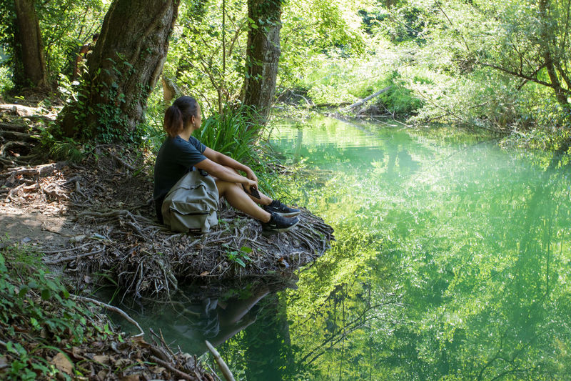 Woman sitting on tree trunk by lake in forest