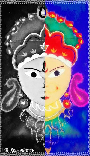 Rangoli Dussera Drawingwork Handdrawings shot in galaxy s3 colours