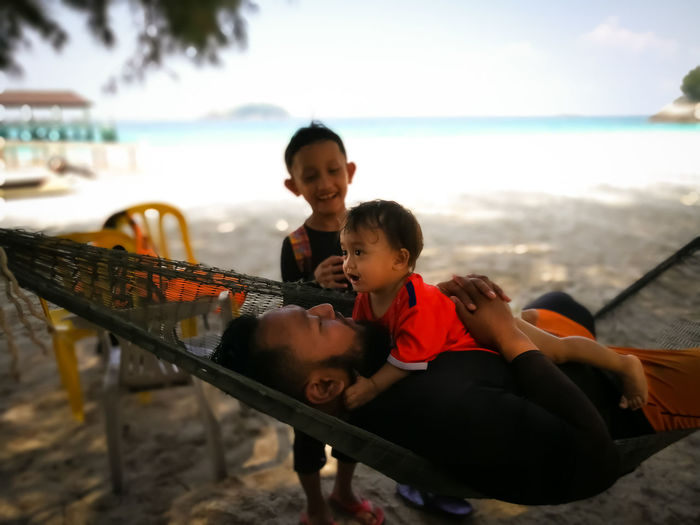 Pulau Redang, Terengganu. Water Child Childhood Males  Family Men Togetherness Real People Sea Leisure Activity Bonding Lifestyles Boys Two People Emotion Females Love Positive Emotion Son Innocence Outdoors