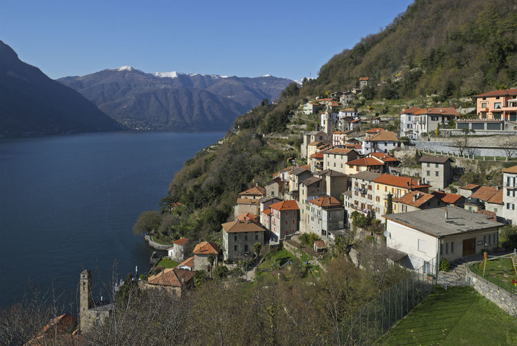 the village of Nesso, Lake Como, Lombardy, Italy Como Lake Lombardy Nesso Scenic Europe High Angle View Italy Lake Lake Como Lakeshore Lakeside Mountain No People Outdoors Picturesque Scenery Scenic View Scenics Scenics - Nature TOWNSCAPE Travel Destinations Village