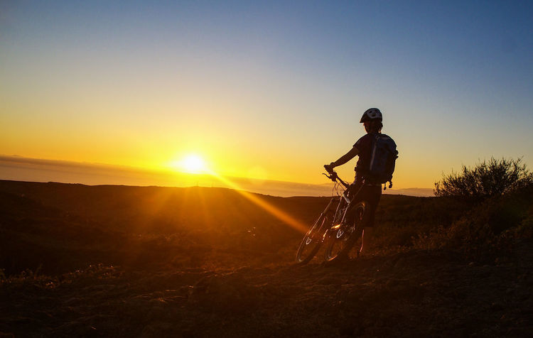 Adventure Bikingadventure Freedom Full Length LaGomeraIsland Landscape Mountain Nature One Man Only One Person Outdoors Silent Landscape Silent Moment Silhouette Photography Silouette & Sky Sky Sports Photography Summer Sun Sunlight Sunset Traveling Photography Woman Of EyeEm
