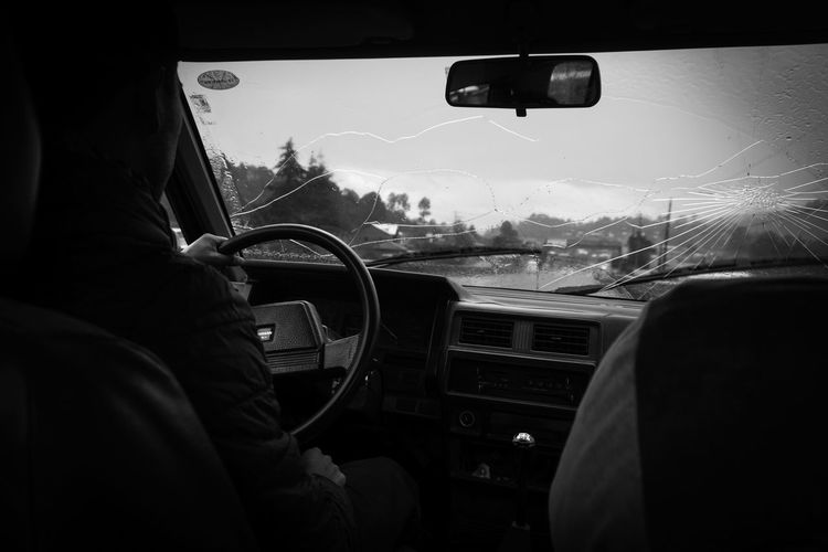 Car Car Window Broken Broken Glass Blackandwhite Art Traffic Safety Car Interior Car Safety Travel Tristesse Melancholy Street This Is Masculinity