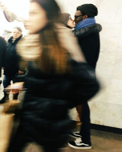 Someday in subway Lifestyles People Real People Togetherness White Background Blackandwhite Subway Underground Street Photography Vscocam VSCO Before Kiss