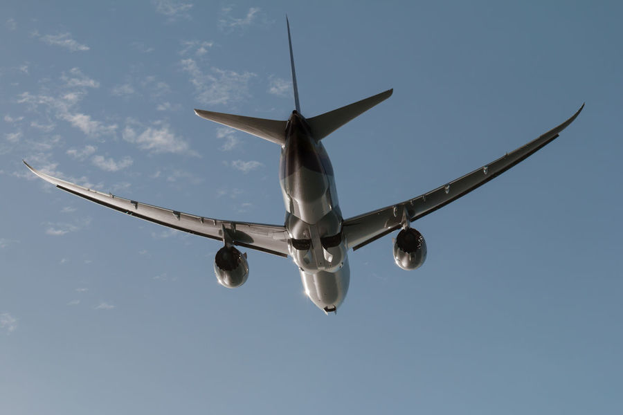 Airplane Day Flying Journey Low Angle View Mid-air No People Outdoors Sky Transportation