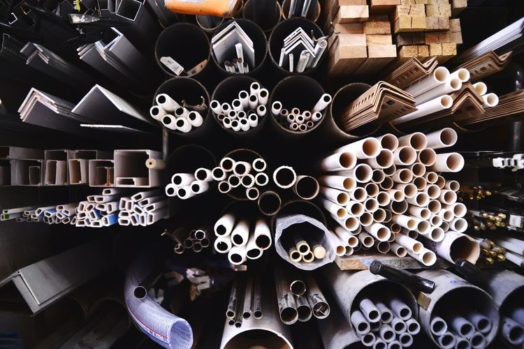 Full Frame Shot Of Pipes In Racks