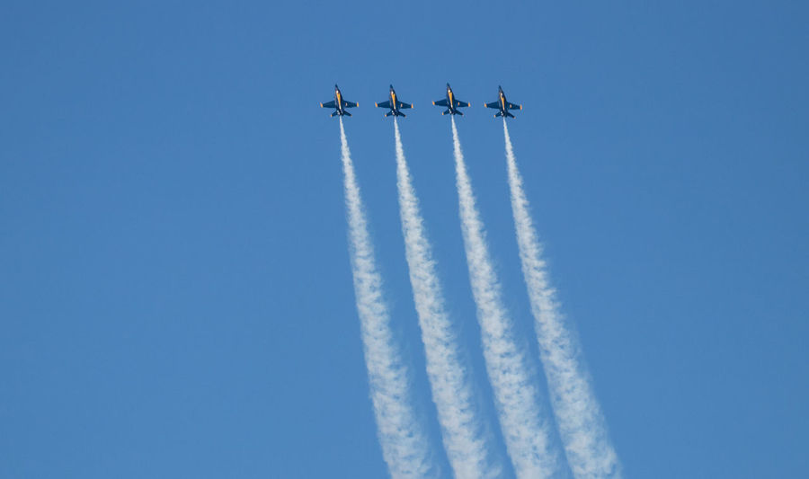 Navy Blue Angels Aerobatics Aerospace Industry Air Vehicle Airplane Airshow Cloud - Sky Cooperation Day Fighter Plane Flying Formation Flying Low Angle View Mode Of Transportation Motion Nature No People on the move Order Outdoors Plane Sky Smoke - Physical Structure Teamwork Transportation Vapor Trail