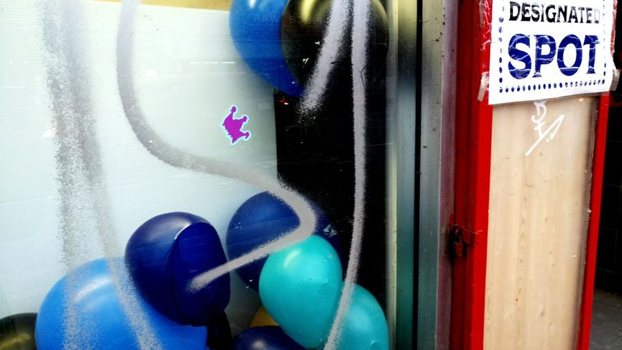 Spots, Colour, Balloons, Windows, Outdoors Sky Framed Found Art humourous signs wit and wisdom redness no people Looking Through Window Reflection