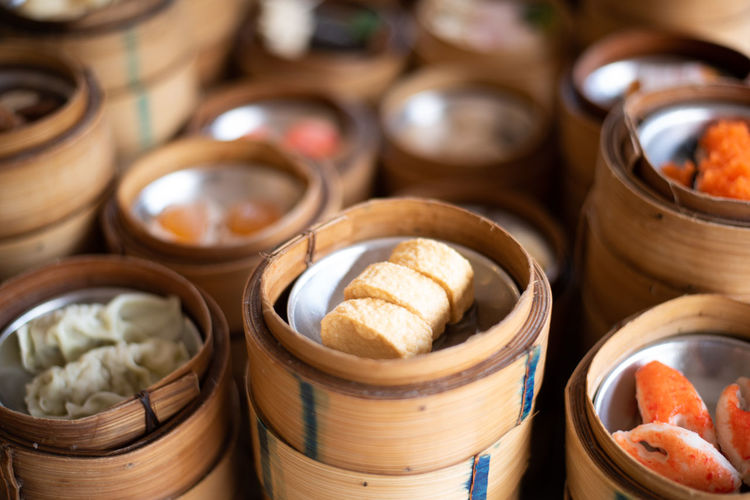 DIM Sum Chinese Food Bamboo Dumpling  Hong Kong Restaurant Cuisine Steamed  Steamer China Dumplings Asian  Basket Steam Meal Traditional Dinner Dish Fresh Background Gourmet Meat Pork Lunch View Dimsum ASIA Snack Appetizer Top Delicious Bun Cantonese Shrimp Breakfast Yum Container