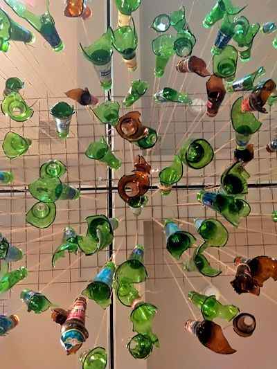 No People Map Green Color Physical Geography Nekc Low Angle View Social Issues Installation Art Glass - Material Glass Glasses Bottles Collection