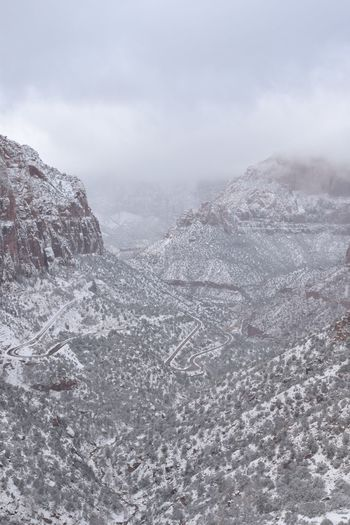 USA Utah Zion National Park Travel Cold Temperature Winter Snow Environment No People Sky Day Beauty In Nature Scenics - Nature Cloud - Sky Tranquil Scene Tranquility Landscape Outdoors Frozen Mountain Land Snowcapped Mountain Non-urban Scene Nature