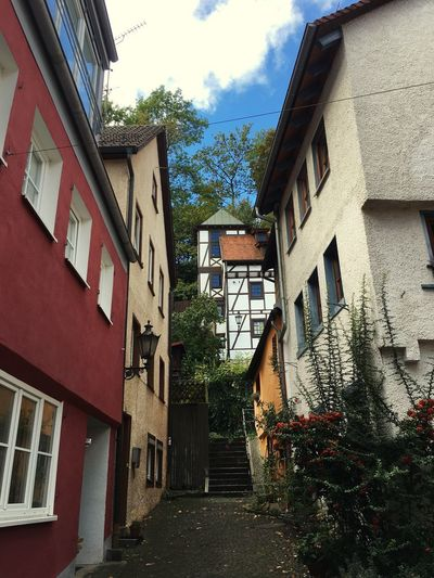 Old narrow alleyway in Heidenheim Rommel Germany Heidenheim Built Structure Architecture Building Exterior Building Residential District Sky Plant House No People Low Angle View Street City