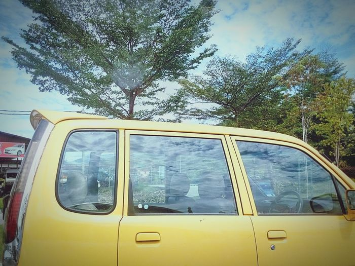 Otw Im The Car Yellow Car Yellow Blue Sky Yellow And Blue Contrast Beautiful Scene Photo Life Kampar Ipoh