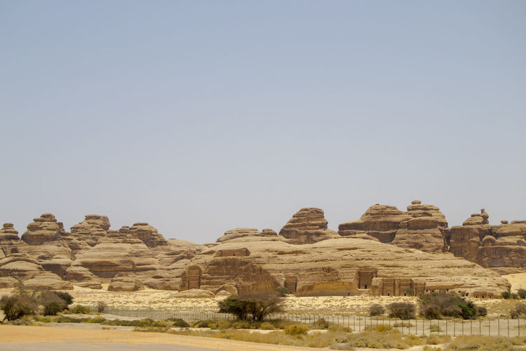 Madin Salih Ancient Ancient Civilization Archaeology Arid Climate Clear Sky Climate Copy Space Day Environment History Landscape Nature No People Outdoors Rock Rock Formation Scenics - Nature Sky Solid The Past Tourism Tranquil Scene Tranquility Travel Travel Destinations