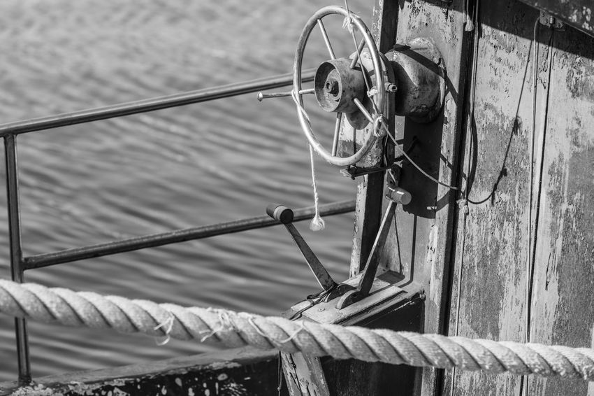 Black And White Boat Cable Close-up Fishing Metal Mode Of Transportation No People Outdoors Pulley Rope Rudder Selective Focus Transportation Water Wheel Wood - Material