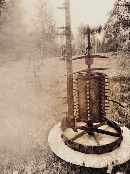 New Take On Old Photo Old Metal Sculptures Countryside Playing With Apps  In A Field Maine