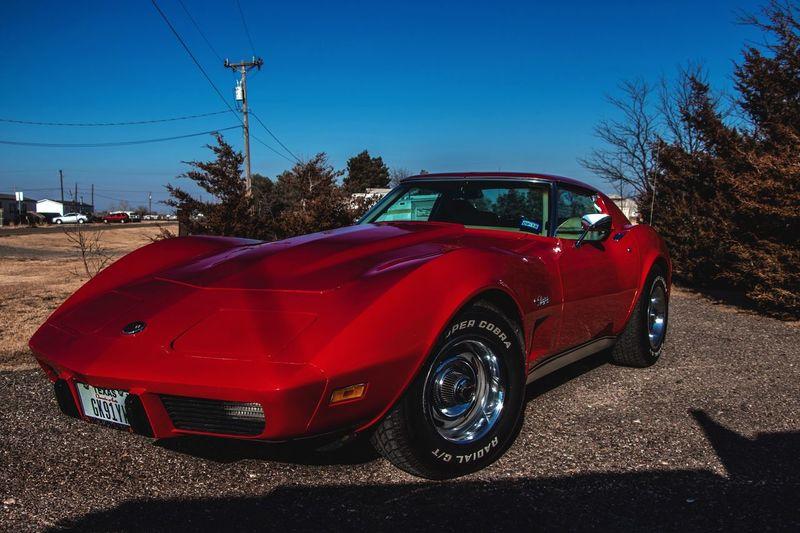 CorvetteStingray Red Car Transportation Land Vehicle Day Outdoors