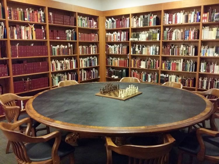 Chess Chessboard Antique Chesspieces Library Torontopubliclibrary Roundtable Orderofthephoenix Oldschool Loveit Nofilterneeded