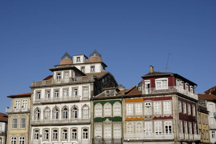 historic center in guimaraes Historic Center Architecture Blue Building Exterior Built Structure Clear Sky Day History Low Angle View No People Outdoors Sky