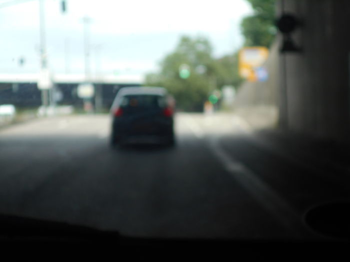 Surface level of vehicles on road in city