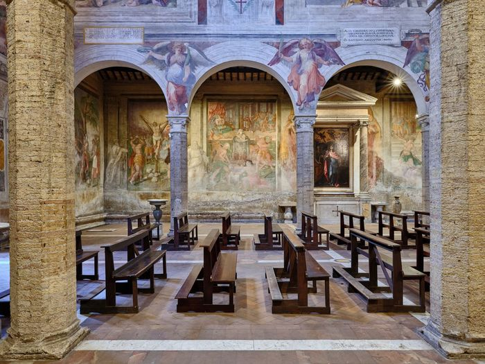 Basilica di SS. Nereo e Achilleo Architecture No People Mural Seat Arch Built Structure Building Chair Day Indoors  Window Table Absence The Past History Architectural Column Empty Travel Destinations Old Gothic Style