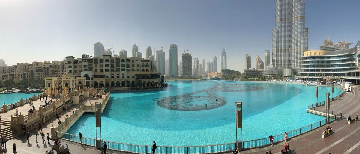 Panorama Architecture Burj Khalifa Dubai Mall Lake Blue Dubai Architecture Built Structure Building Exterior City Skyscraper Water Swimming Pool Cityscape Modern Outdoors Travel Destinations Urban Skyline Day Sky Clear Sky Large Group Of People Luxury Hotel Skateboard Park Ice Rink People