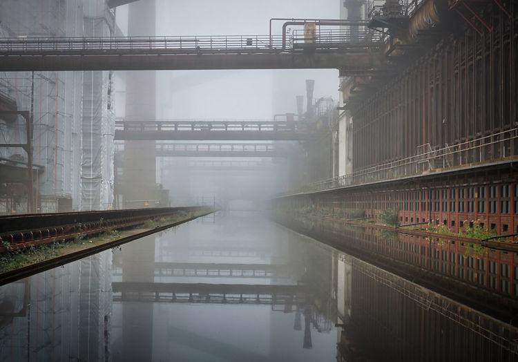 Industrial landscape in the morning fog