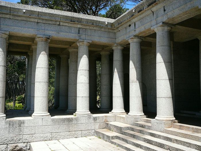 Standing Guard @ Rhodes ~ Architectural Column No People Day Architecture Built Structure Outdoors Western Cape South Africa Is Amazing Devil's Peak Rhodes Memorial Cape Town Travel Destinations Architecture Pillars Patioview