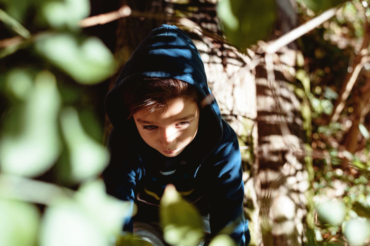 Plant Boys Casual Clothing Child Childhood Day Front View Leisure Activity Lifestyles Nature One Person Outdoors Plant Real People Selective Focus Tree