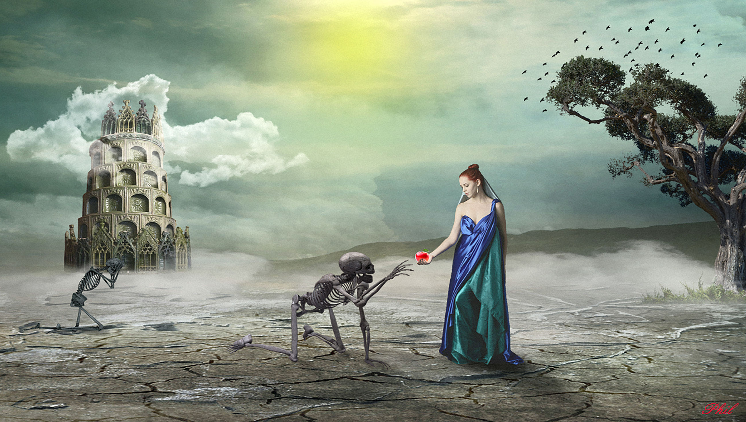 sky, real people, cloud - sky, one person, young adult, lifestyles, nature, architecture, animal wildlife, vertebrate, full length, one animal, built structure, women, young women, day, land, outdoors, digital composite