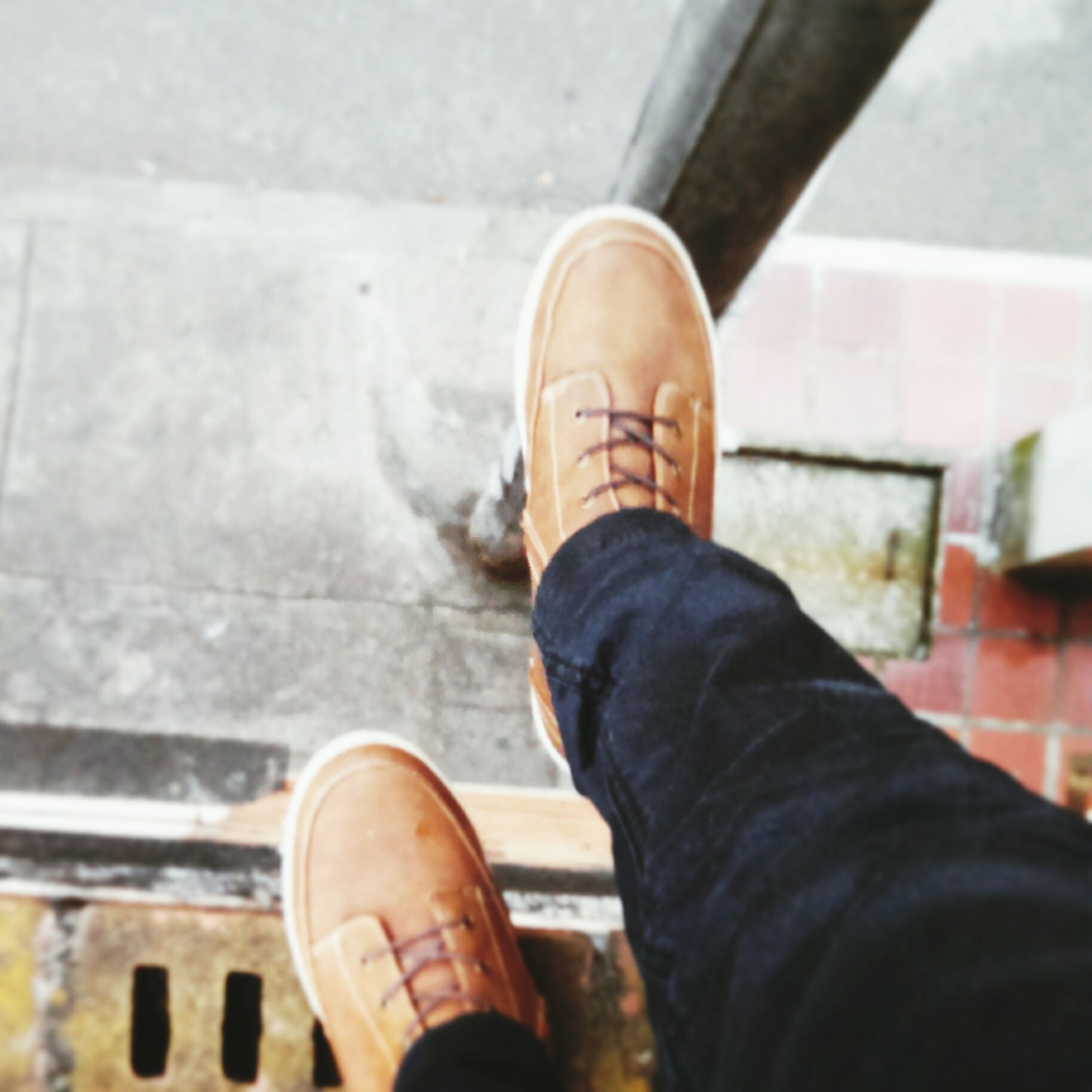 low section, person, personal perspective, shoe, human foot, lifestyles, part of, footwear, men, indoors, standing, unrecognizable person, leisure activity, high angle view, jeans, human limb