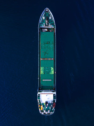 Aerial view of tanker