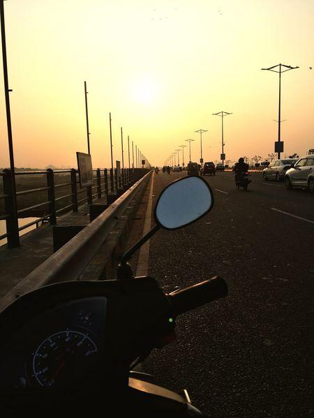 Trip Akshardhaamtemple India Sunset Silhouette Road Not Taken Scooter Journeys Travelling