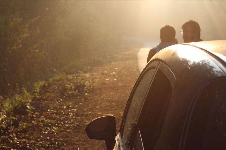 Friends Standing By Car On Roadside