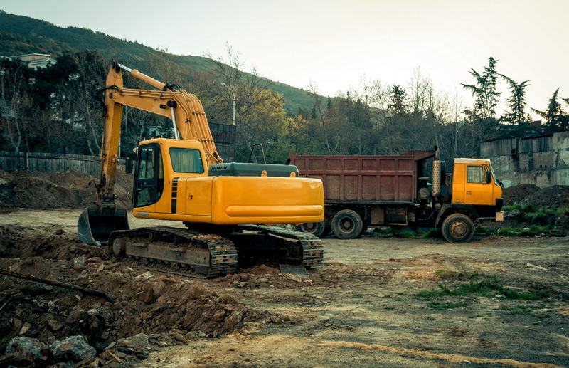 Vehicles At Construction Site