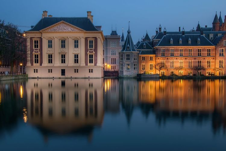 Architecture Blue Building Building Exterior Built Structure Canal City Den Haag Hofvijver Illuminated Long Exposure Nature No People Outdoors Reflection River Sky Standing Water Tranquility Travel Destinations Water Waterfront