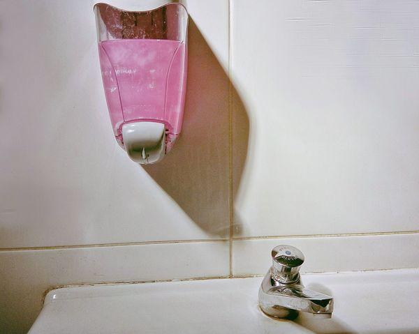 Soap Dispenser White Tiles Tap Sink Public Bathroom Restroom Water Closet The Minimalist Minimalist Architecture Millennial Pink