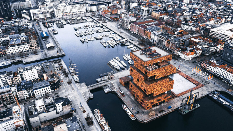 Anvers - Belgique Aerial View Architecture Building Building Exterior Built Structure City Cityscape Day Design High Angle View Mode Of Transportation Museum Nature Nautical Vessel No People Orange Color Outdoors River Transportation Travel Destinations Water