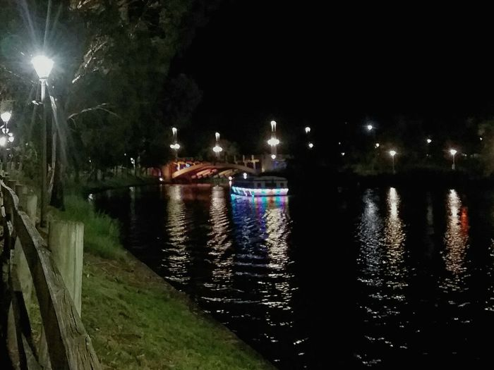 Nightphotography Night Night Lights Water Reflections Waterfront Water River No People Boat Boat With Lights Trees Bridge In Background Lamp Post River Torrens, Adelaide City