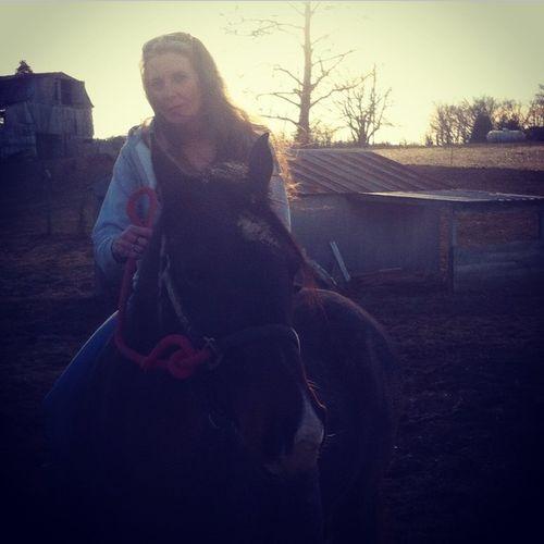 My momma riding.