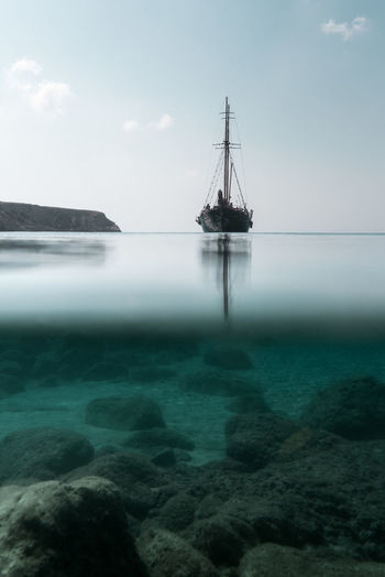 Circumstance Greece Sea Water Nautical Vessel Sailboat Horizon Over Water Sky Transportation Mode Of Transportation Scenics - Nature Nature Beauty In Nature Rock - Object Rock Solid Tranquil Scene Day Tranquility No People Sailing Cloud - Sky Outdoors First Eyeem Photo