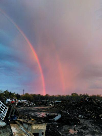 Scrapyard Double Rainbow Rainbow Beauty In Nature Landscape Scenics Multi Colored Nature Majestic Sky Cloud Natural Phenomenon Day Outdoors Scrap Metal Scrap Yard Double Rainbow TakeoverContrast