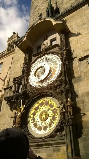 Architecture Astronomical Clock Building Exterior Clock Clock Face Gold Colored Sky Staroměstský Orloj Sunnyday Travel Destinations