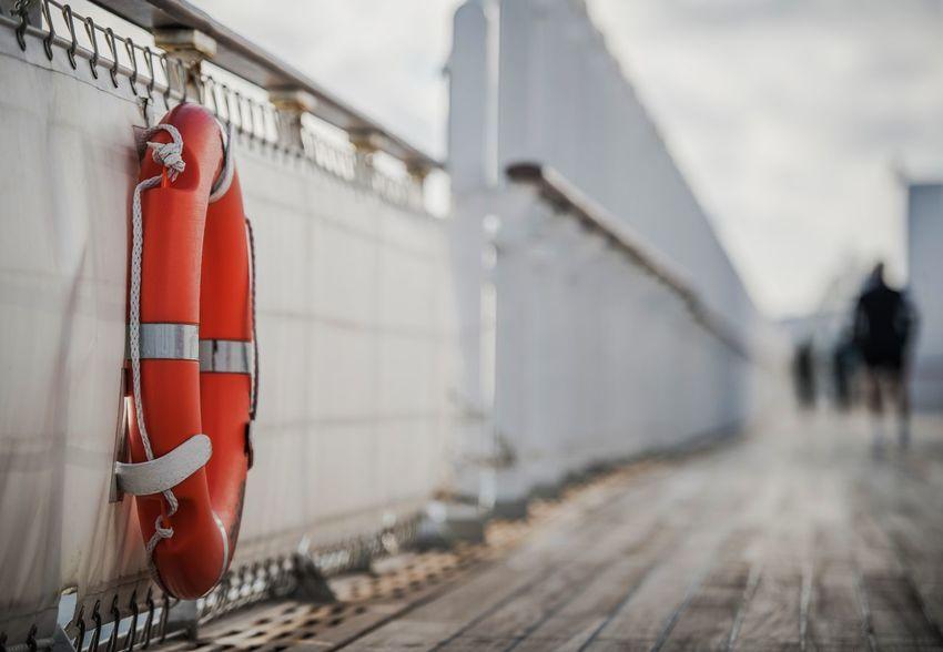 Cruise Ship Lifebuoy Lifering. Life Saving Ring. Sea Travel Safety Boat Cruise Day Lifebuoy Ring No People Ocean Outdoors Rail Transportation Safety Sea Travel Transportation