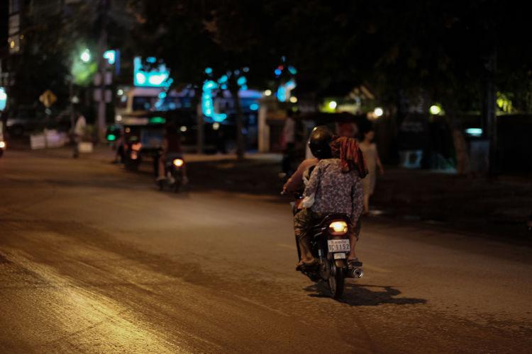 Rear View Of Motorbike On Street