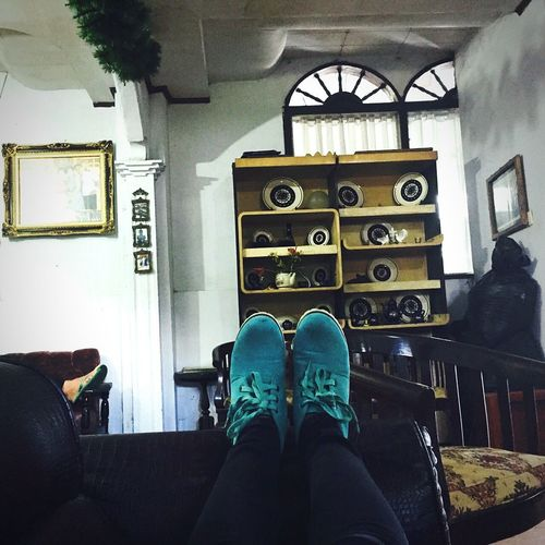 Relax on Low Section Resting Shoe Person Old Decoration Livingroom Contrasts Calm Home