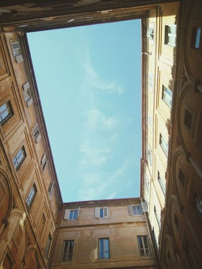 View of a courtyard Architecture Fine Art Photography Rome Wasn't Built In A Day Rome Through My Eyes Taking Photos Hidden Gems  Hidden Courtyards The Graphic City Colour Your Horizn