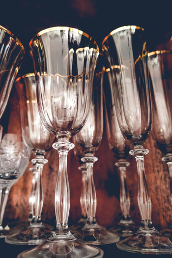 Wine glasses and champagne flutes in the cupboard