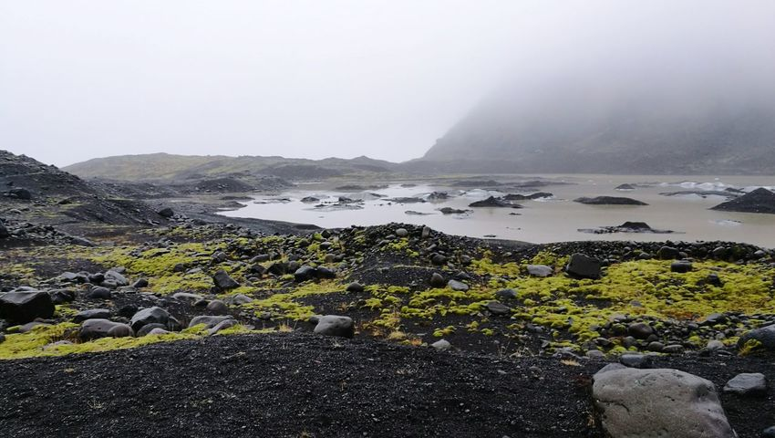 Landscape of Iceland Nature Landscape Fog Scenics Mountain Lake Water Beauty In Nature Outdoors No People Black Volcanic Sand Volcanic Sand Iceland Moss Rain Glacier National Park Extraordinary