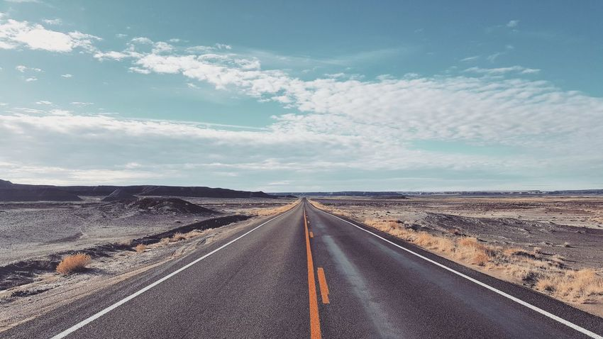 Road Cloud - Sky Highway Sky The Way Forward Landscape Asphalt Outdoors No People Nature Day Adventure Arizona Petrified Forest National Park